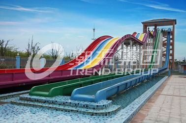 Cool Huge Fun Rainbow Water Slides With Custom Length 4 Lanes